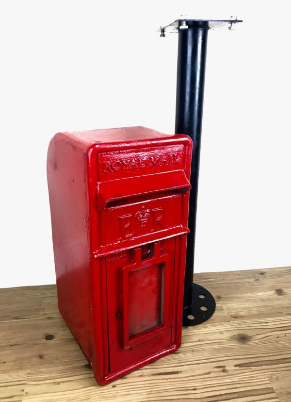 Vintage Post Box On Mount Stand / Red / Royal Mail / Garden Furniture